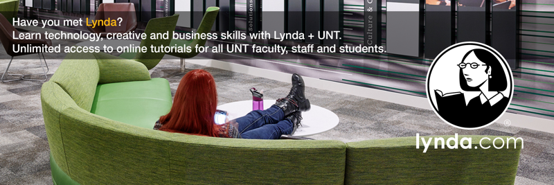 Photo of a woman sitting in the UNT Union using a mobile device