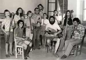 Seated second from left, Marco Buongiorno Nardelli, 1974, playing drums