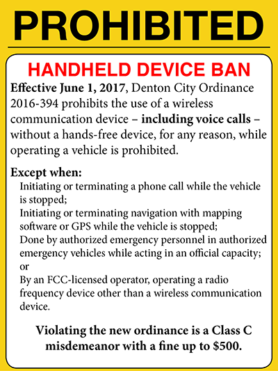 Notice of handheld device ban