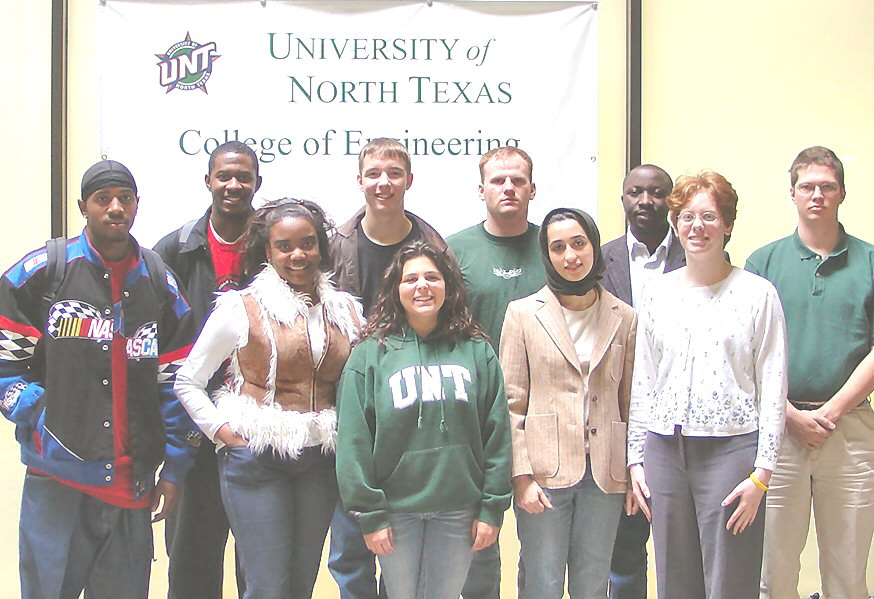 DaMiri Young, second from the left, member of UNT's first class of electrical engineering graduates in 2005