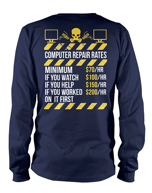t-shirt with computer repair prices on it