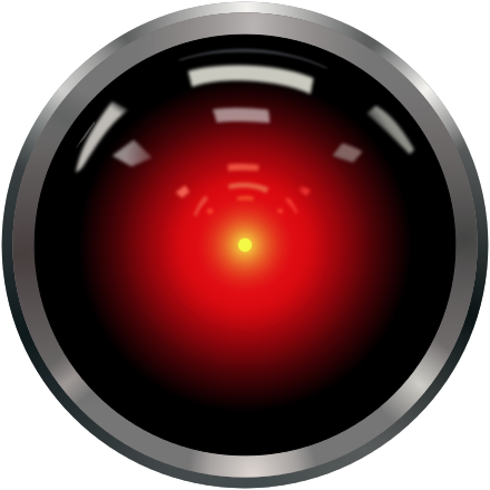 A red button depicting the character Hal in the movie 2001: A Space Odyssey.