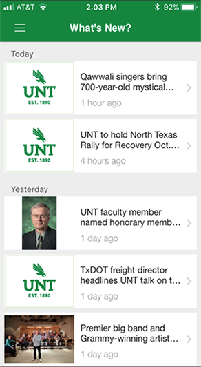 "Image screenshot from the UNT mobile ppp showing ""My Classes."""