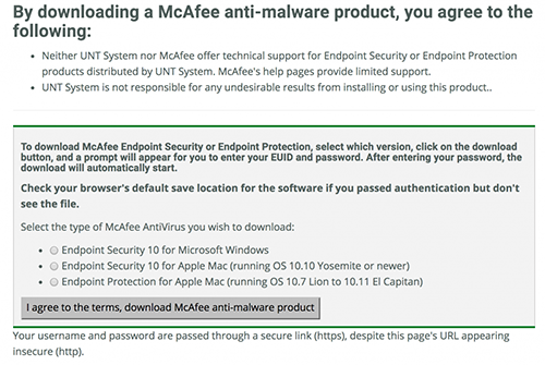 McAffee Antivirus image about user agreement and usage