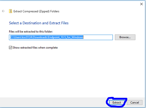 Image showing that a file will be extracted to the folder extracted by the user.