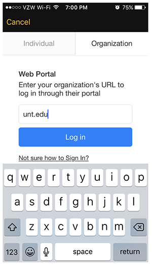 Select the tab labeled Organization, then enter UNT's main web page URL, https://www.unt.edu/