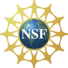 Logo for the National Science Foundations: a world globe with icons of humans holding hands around the world; letters NSF in the center.