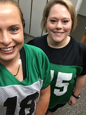 Stylin' with UNT pride on Fridays: Jennifer Spillman, left, and Carrie Stoeckert