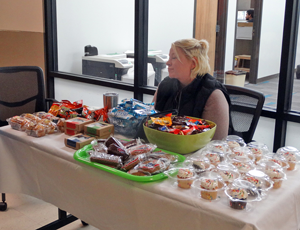 Catherine Brown, UIT, helped at the Bake Sale to raise money for SECC.